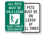 Dog Leash Signs