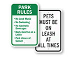 Dog Park Regulations Signs