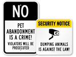 No Dumping of Animals - Warnings