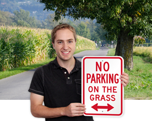 No Parking on the Grass Signs
