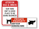 Private Property No Dog Signs