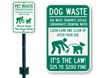 Clean Up Dog Poop Fine Signs