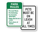 Dog Park Regulations Signs