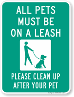 All Pets Leash Clean Sign
