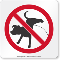 Dog Peeing Not Allowed On Premises Symbol Sign