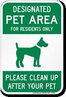 Designated Pet Area Sign