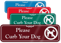 Please Curb Your Dog Engraved Sign