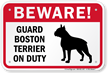 Beware! Guard Boston Terrier On Duty Sign