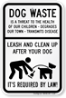 Dog Waste Threat Leash Dog Sign