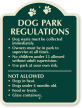 Dog Park Regulations Signature Sign
