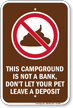 No Dog Poop Campground Sign