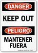 Bilingual Keep Out Sign