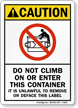 Do Not Climb Container Sign
