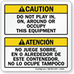 Bilingual Do Not Play Around Dumpster Label