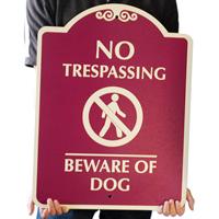 No Trespassing & Beware Of Dog Graphic Sign