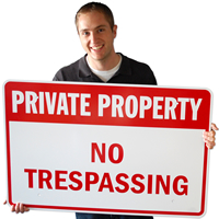 Private Property No Trespassing Sign (Red)