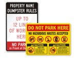 Dumpster Rules - Keep Property Clean Signs