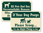 Rustic Pine Crest™ Dog Poop Signs