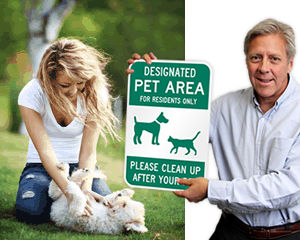 Designated Pet Area Signs