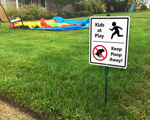 Kid At Play Keep Poop Away Sign