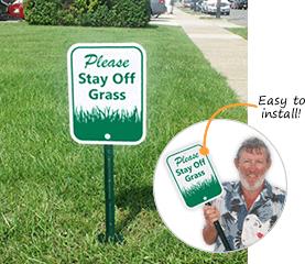 Keep Off Grass Signs