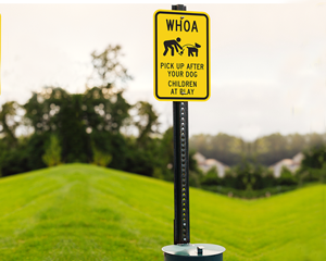 WHOA, pick up dog poop sign