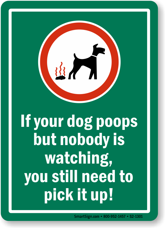 If Dog Poops Pick It Up Sign