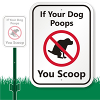 Dog Poop with Graphic Sign