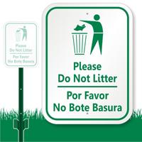 Bilingual Do Not Litter Sign