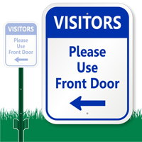 Please Use Front Door Sign (with Left Arrow)