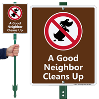 A Good Neighbor Cleans Up Lawnboss Sign