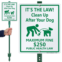 Clean Up After Your Dog with Graphic Sign