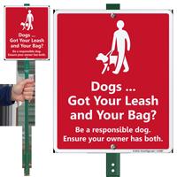 Dog Leash Lawnboss Sign