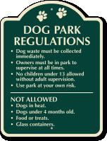 Dog Park Regulations Signature Sign