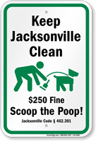 Dog Poop Sign For Florida