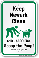 Dog Poop Sign For New Jersey