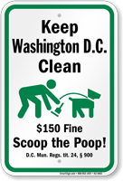 Dog Poop Sign For Washington DC