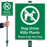 Dog Urine Kills Plant Curb Dog LawnBoss Sign