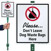 Dont Leave Dog Waste Bags Here Sign