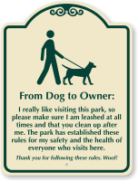 From Dog To Owner Park cleanliness Sign