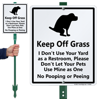 Keep Off Grass, No Dog Pooping Peeing Sign