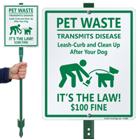 Pet Waste Transmits Disease $100 Fine LawnBoss Sign