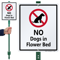 No Dogs In Flower Bed Sign