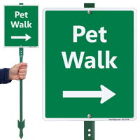 Pet Walk Right Arrow Lawnboss Sign