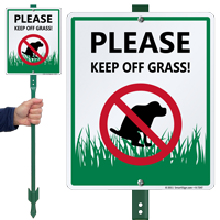 Keep Off Grass with Graphic Sign