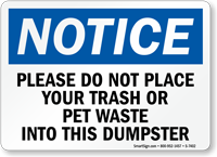 Notice: Dumpster Rules Sign