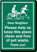 Help Keep Place Clean Dog Poop Sign