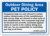 New York Dogs Allowed in Restaurant Law Sign