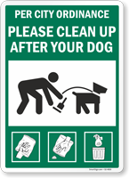 Per City Ordinance Please Clean Up After Your Dog Sign