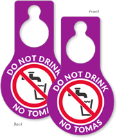 Do Not Drink Pear Shaped Door Hang Tag